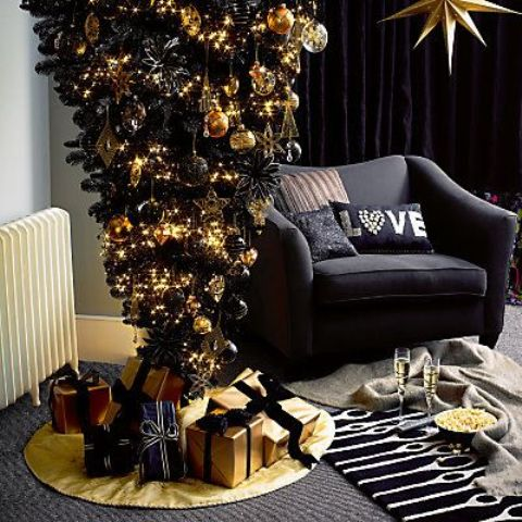 14-a-black-upside-down-Christmas-tree-with-black-and-gold-decor