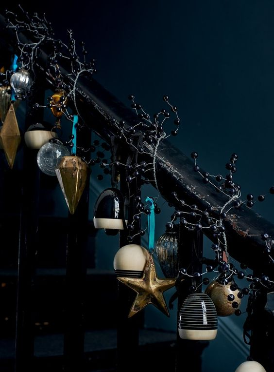 14-dark-Christmas-stairs-decor-with-bells-black-berries-and-vintage-ornaments