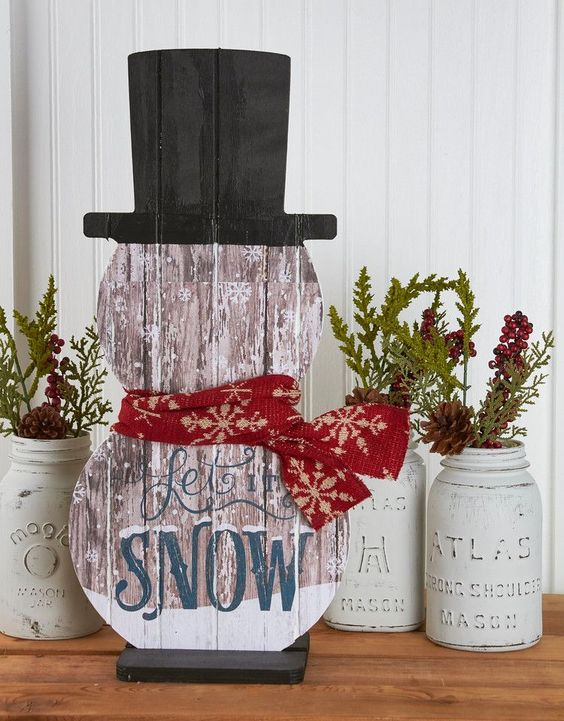 14-painted-snowman-shaped-sign-Let-It-Snow