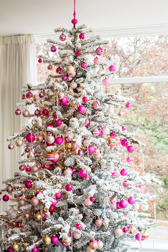 16-bold-fuchsia-and-gold-ornaments-for-a-flocked-tree