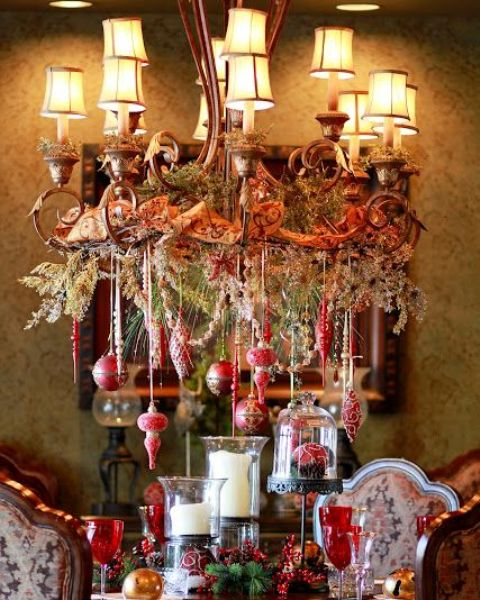 20-beautiful-Christmas-chandelier-with-hanging-red-ornaments-vintage-ribbon-and-evergreens