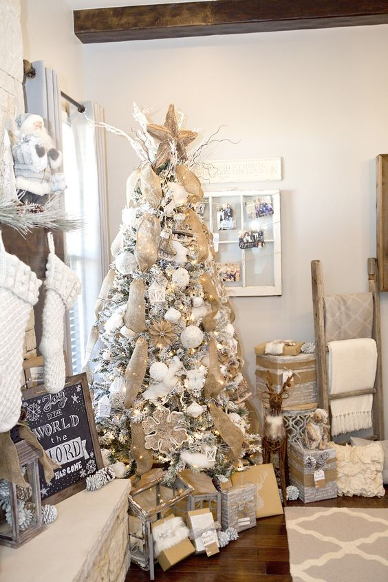 20-neutral-and-rustic-flocked-Christmas-tree-decor-with-burlap-mesh