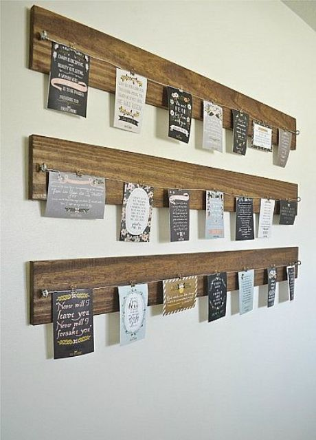 23-wooden-planks-with-wire-and-cards-attached-to-them