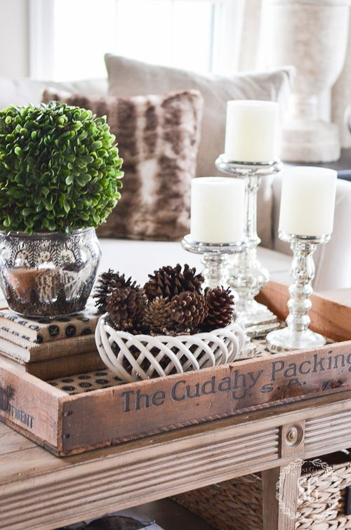 26-neutral-coffee-table-decor-with-pinecones-greenery-and-candles