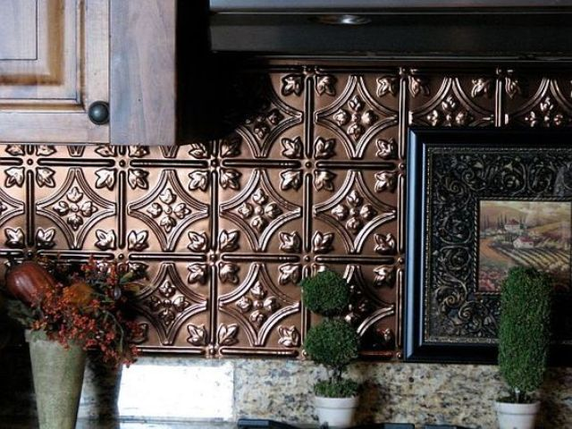 26-stylish-copper-backsplash-from-pressed-tin