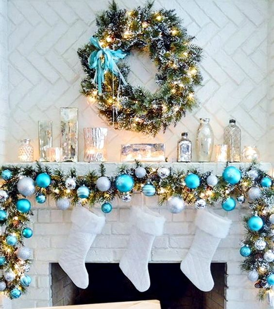 29-blue-silver-and-white-Christmas-garland-and-white-stockings-never-looked-cuter-than-that
