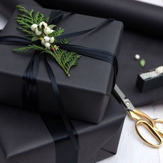 30-charcoal-grey-wrapping-paper-black-ribbon-and-fresh-greenery