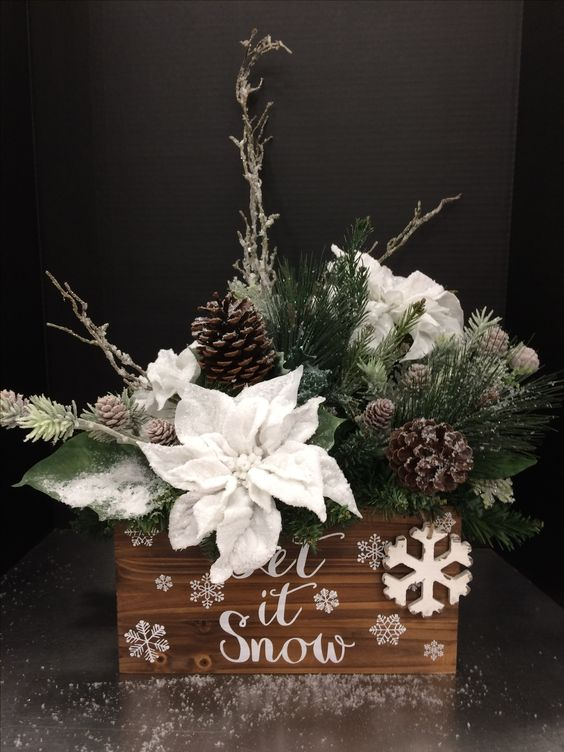34-awesome-holiday-box-arrangement-with-faux-evergreens-snowy-poinsettia-and-pinecones