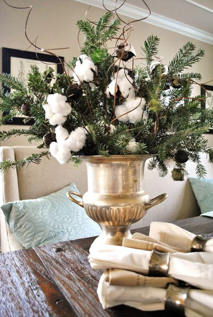 36-cotton-and-greens-arrangement-in-a-gold-bucket