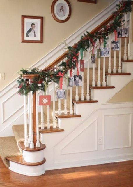 36-hanging-cards-on-an-evergreen-garland-with-some-ribbon