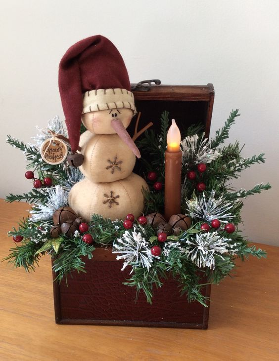 38-vintage-chest-with-fir-branches-a-snowman-and-a-candle-lamp