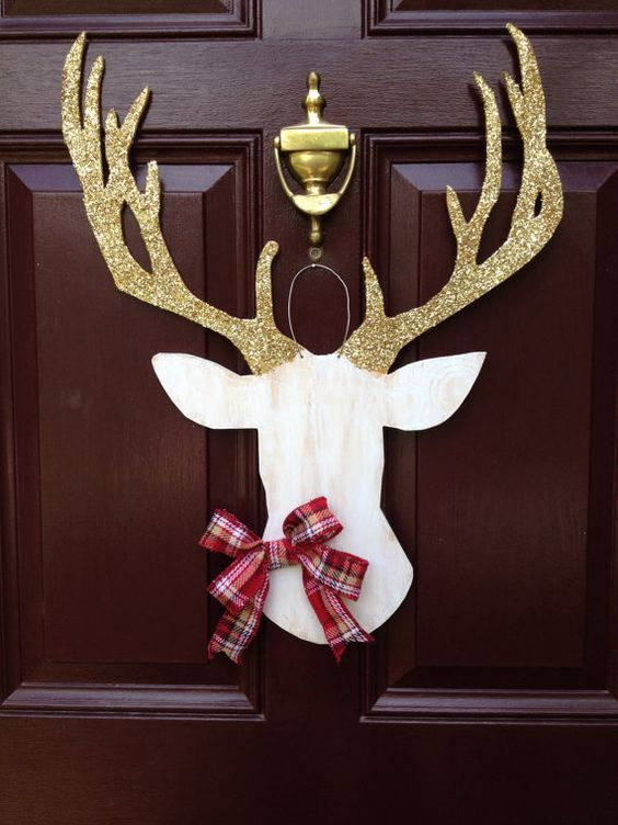 04-deer-silhouette-door-hanger-with-glitter-antlers-and-a-plaid-bow