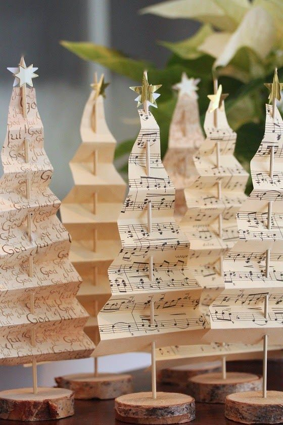 15-music-sheet-Christmas-trees-on-wood-slices