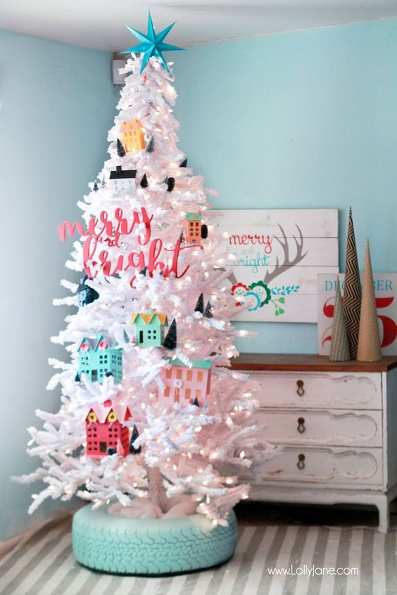 16-a-tire-tree-base-and-toy-houses-instead-of-ornaments