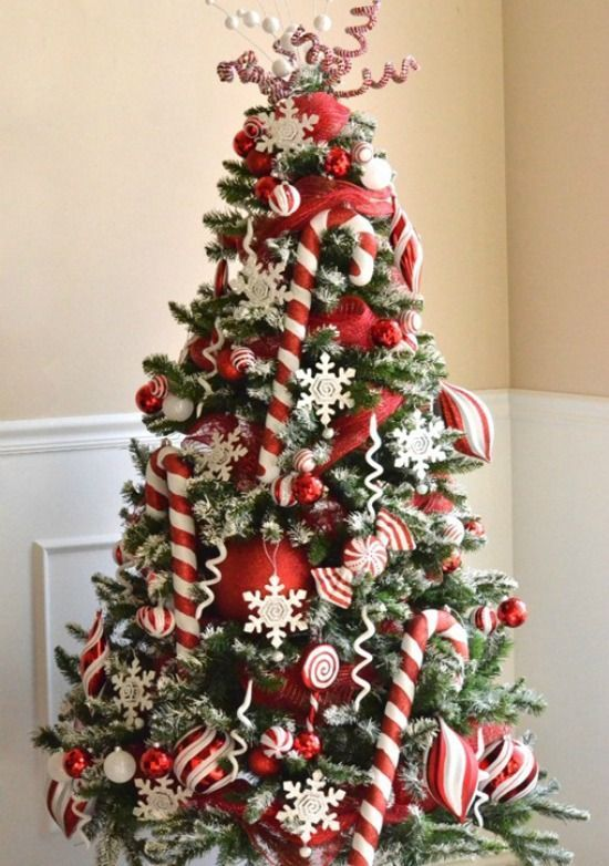 21-red-and-white-Christmas-tree-with-oversized-balls-and-candy-canes