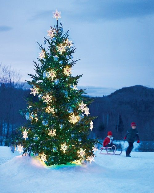 24-outdoor-Christmas-tree-with-light-snowflakes-and-oversized-blue-ornaments