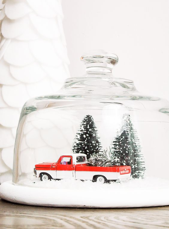 24-vintage-snow-globe-with-a-pick-up-and-tiny-trees
