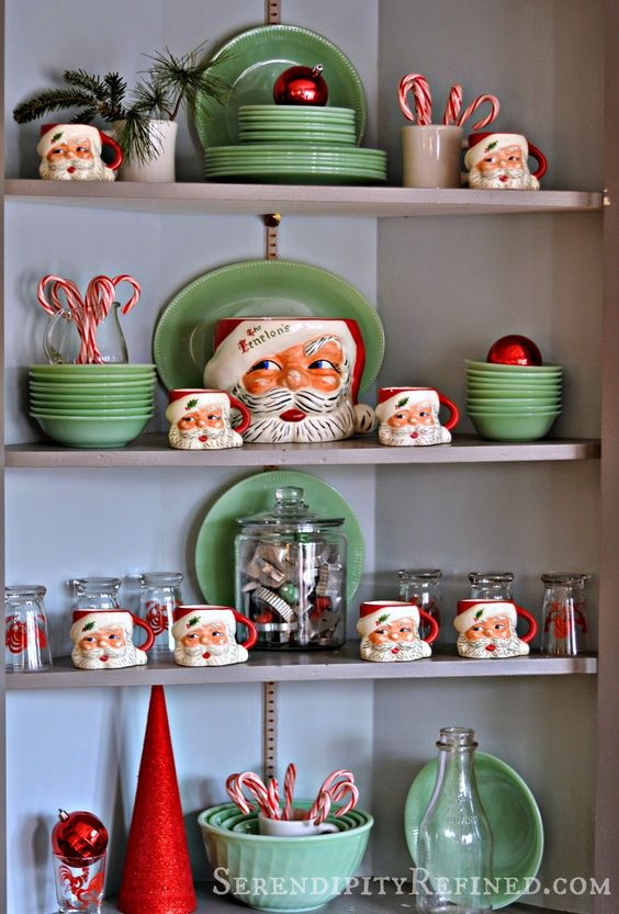 28-green-dishes-and-Santa-mugs-for-a-retro-kitchen-display