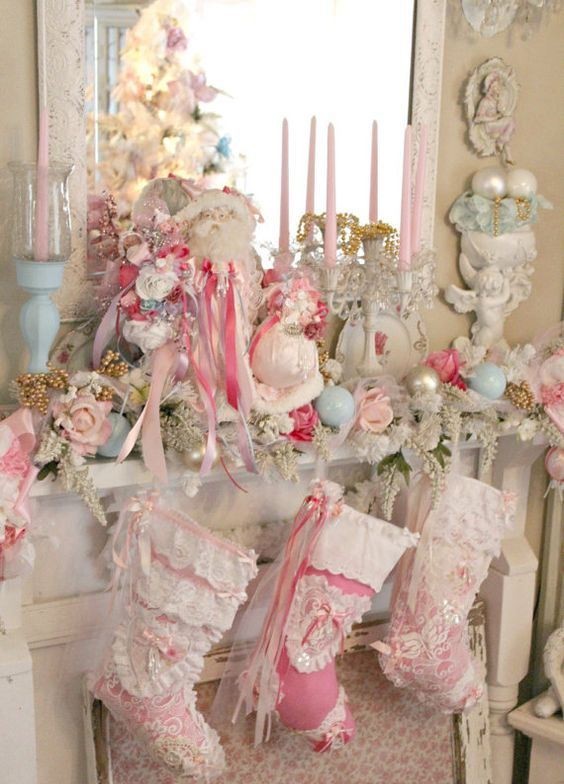 29-lush-shabby-chic-Christmas-mantel-with-ruffled-stockings-ornaments-and-candles