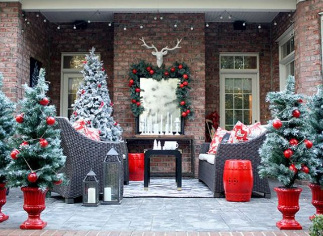 30-snowy-faux-trees-with-large-glossy-red-ornaments