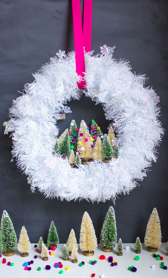 31-fluffy-white-Christmas-wreath-with-bottle-brush-tiny-trees-and-pompoms