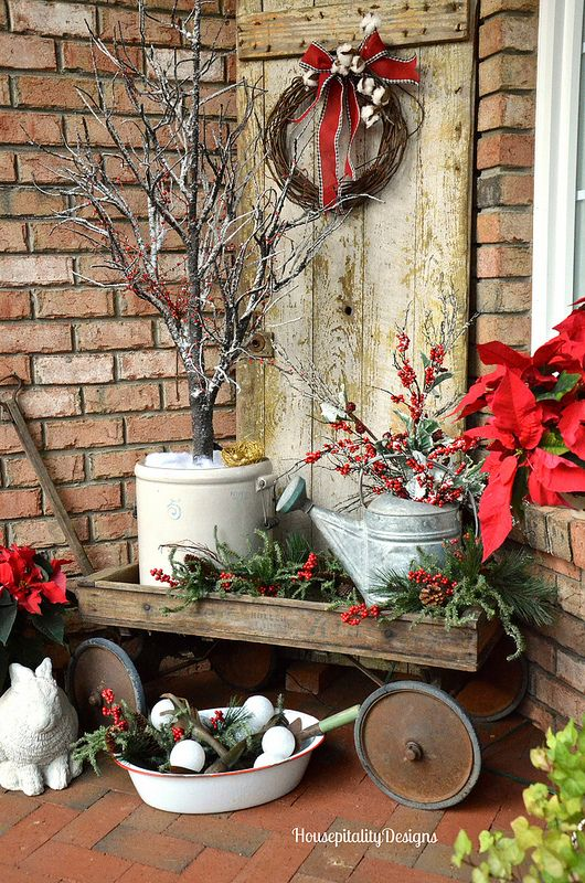 32-vintage-cart-with-watering-cans-pots-and-evergreens