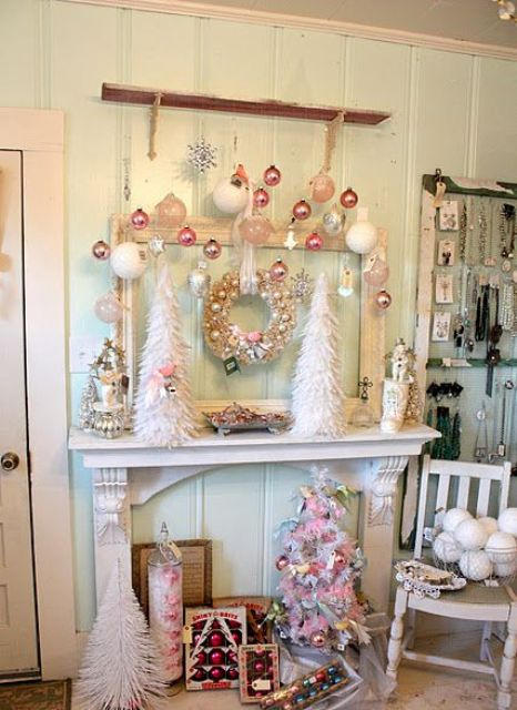 34-shabby-chic-Christmas-faux-mantel-with-pastel-ornaments-and-trees