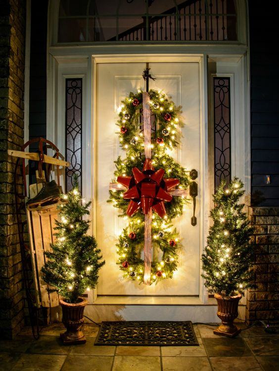 38-lit-up-evergreen-wreaths-trio-with-ornaments-and-ribbon