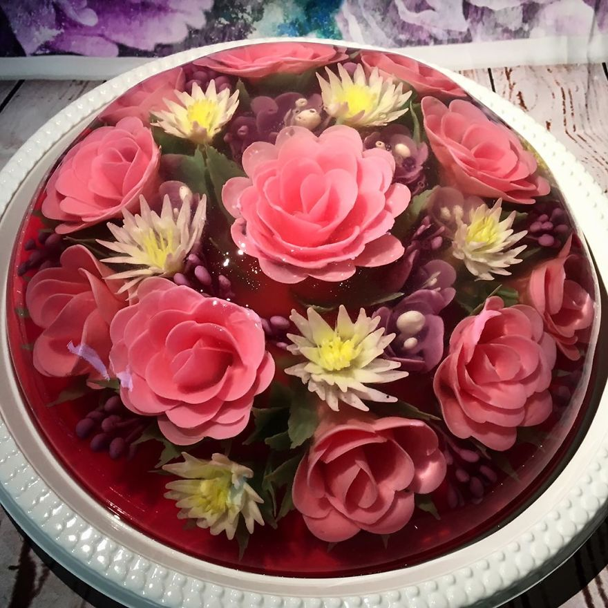 3d flower jelly cakes